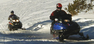 Snowmobing in Wyoming's beautiful Bighorn Mountains